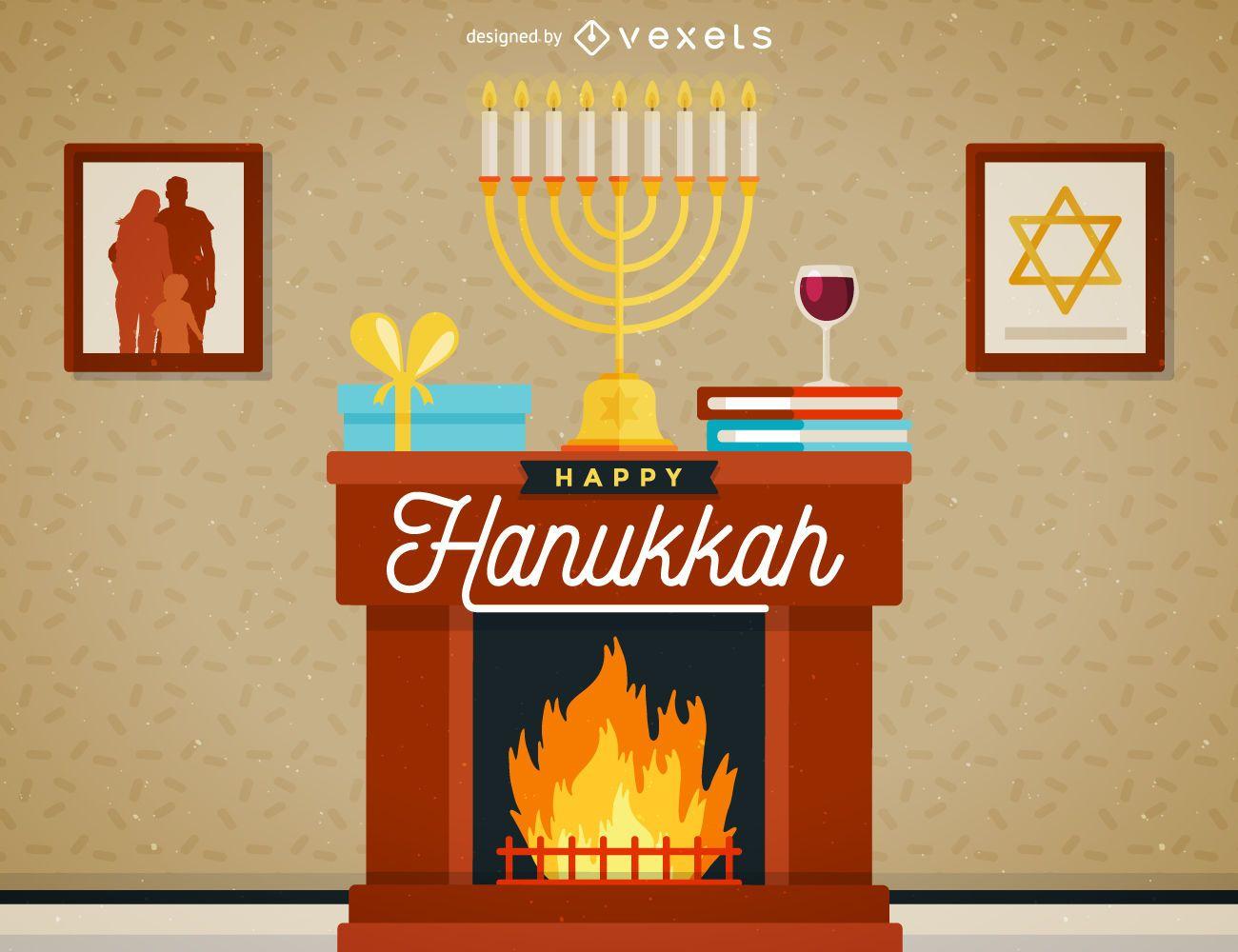 Hanukkah scene illustration