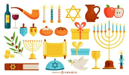 Hanukkah symbols illustration set