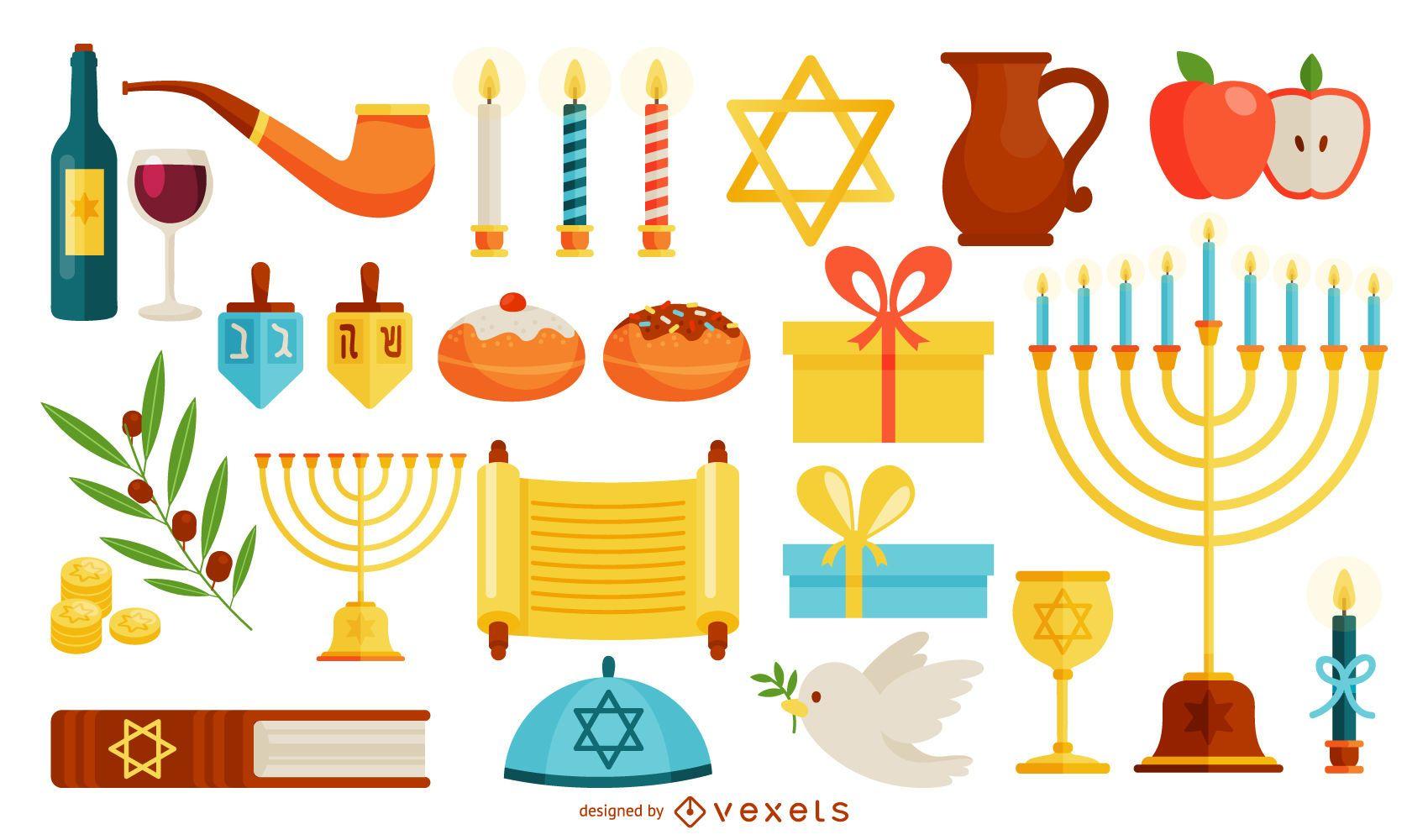 Hanukkah symbols illustration set