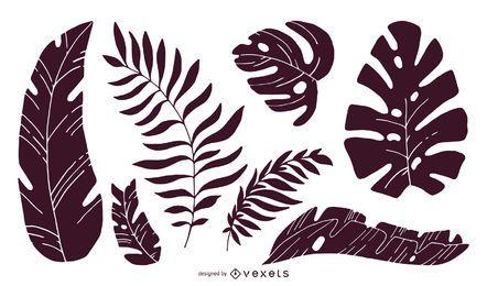 Conjunto de siluetas de hojas tropicales.