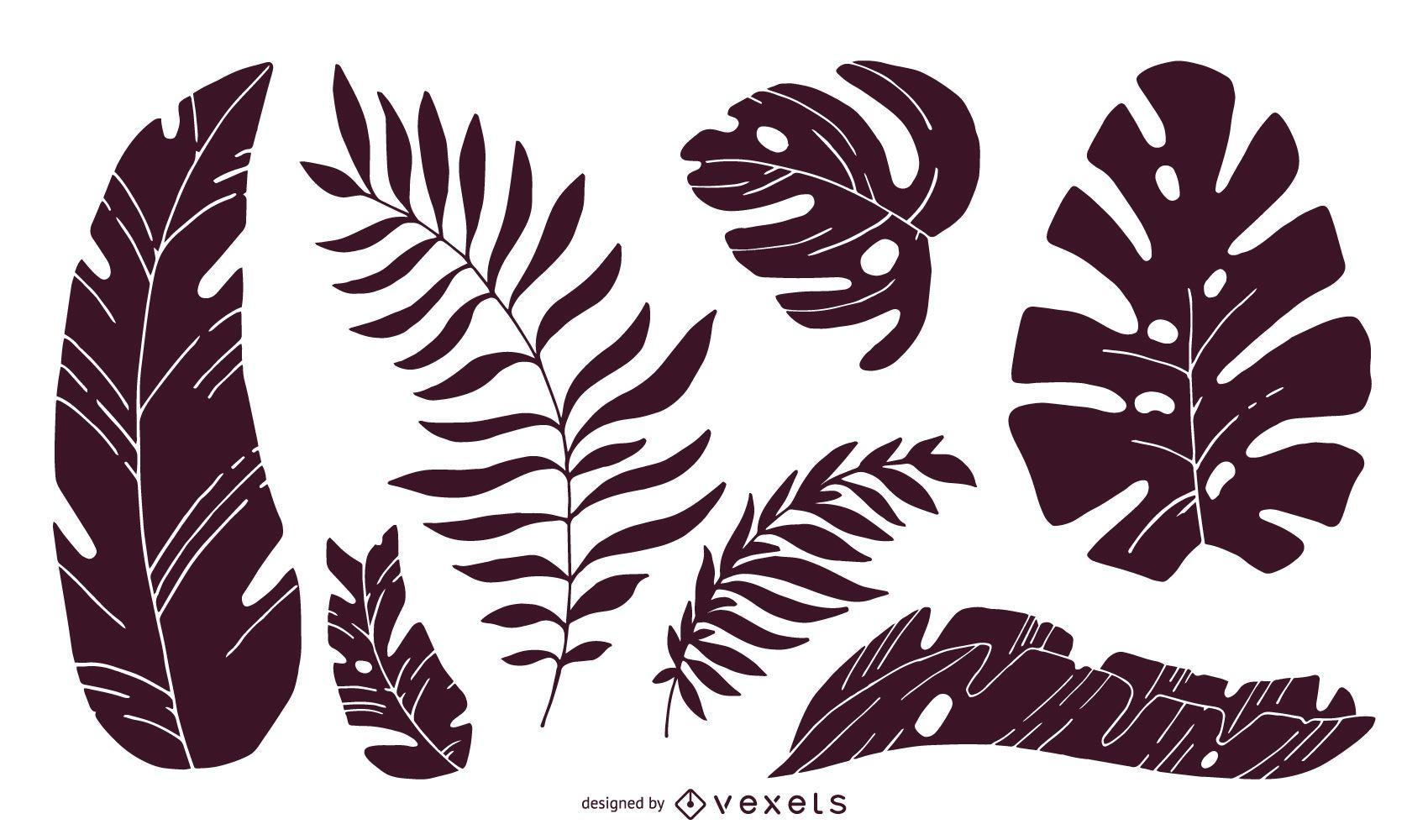 Conjunto de silhuetas de folhas tropicais
