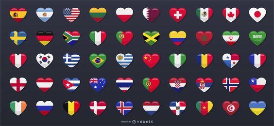 50 banderas del país en forma de corazón