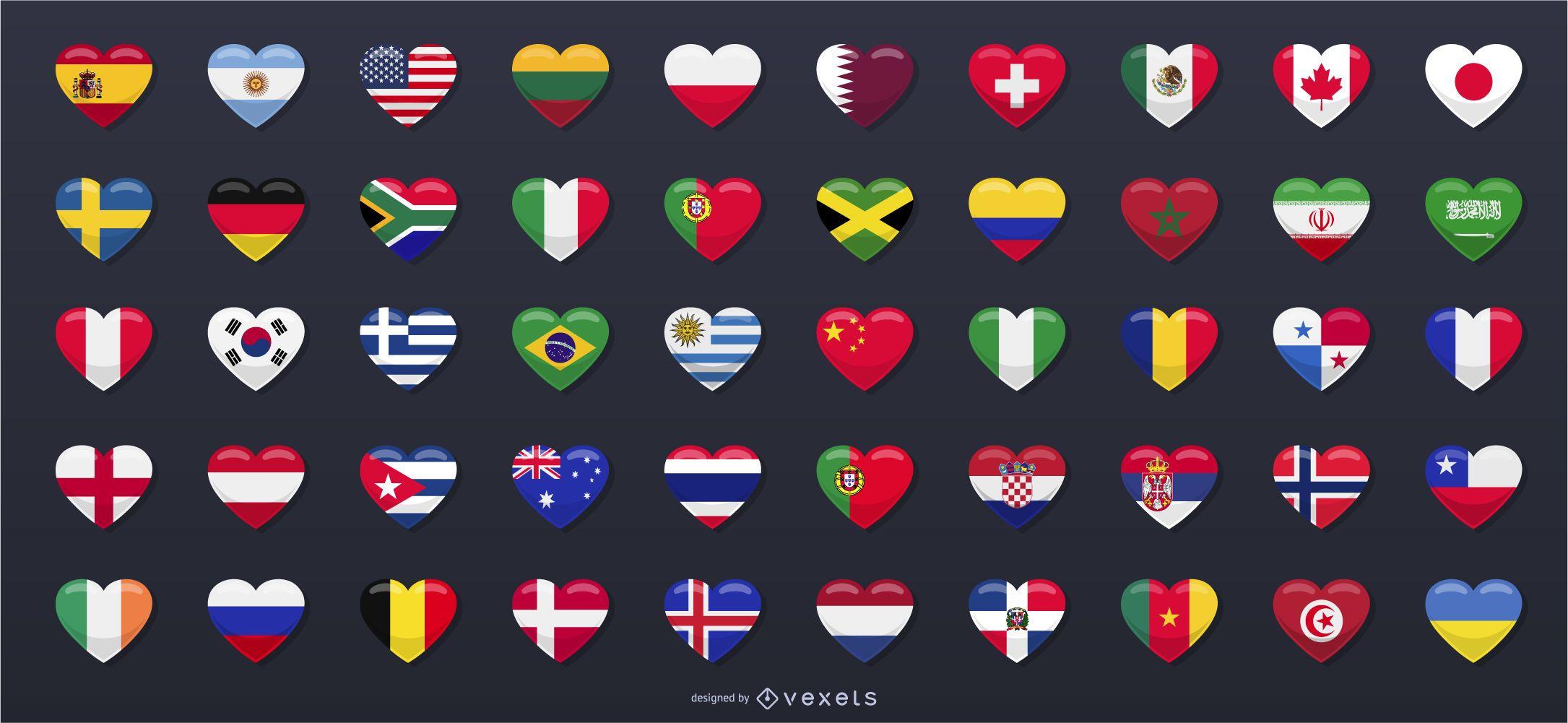 50 banderas de países en forma de corazón