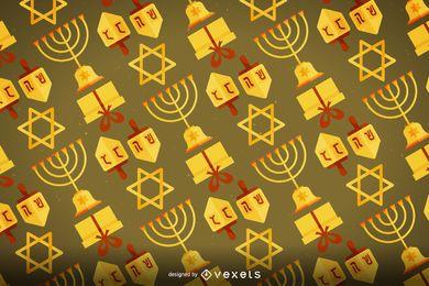 Padrão de Hanukkah com elementos icônicos
