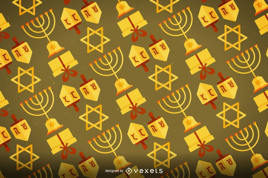 Hanukkah pattern with iconic elements
