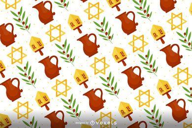Diseño de patrón de Hanukkah plana
