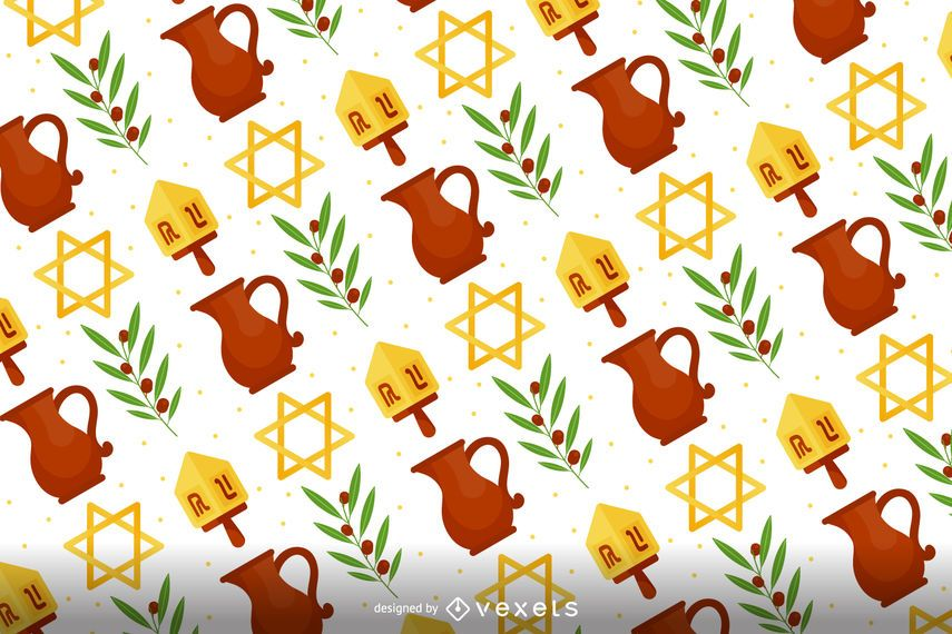 Flat Hanukkah pattern design