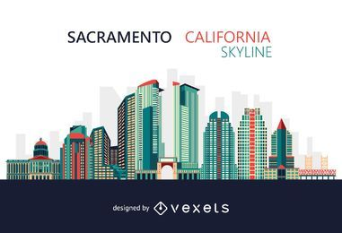Colorful Sacramento California skyline