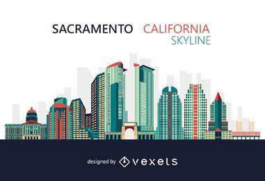 Skyline colorida de Sacramento Califórnia