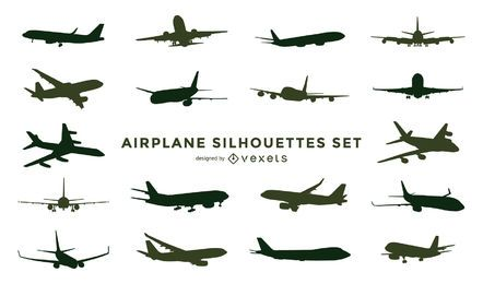 Airplane silhouette set