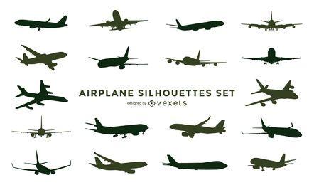 Conjunto de silhueta de avião
