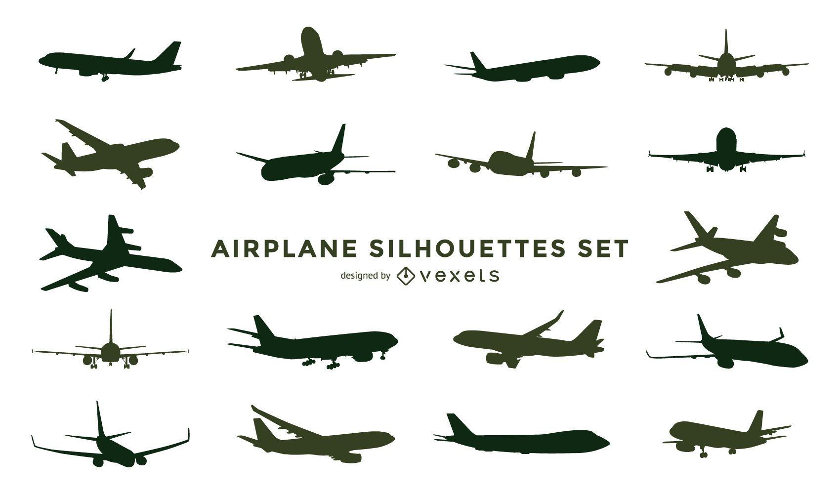 Conjunto de silueta de avión