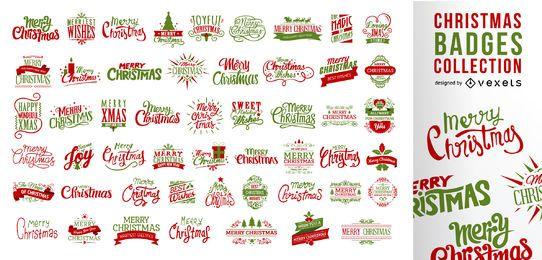 Grande coleção de emblemas de Natal
