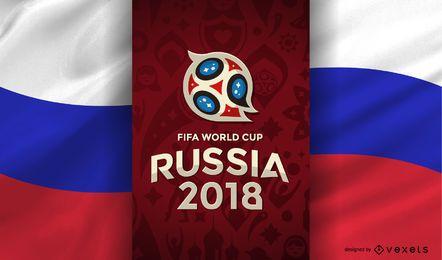 Rússia 2018 Copa do Mundo com bandeira