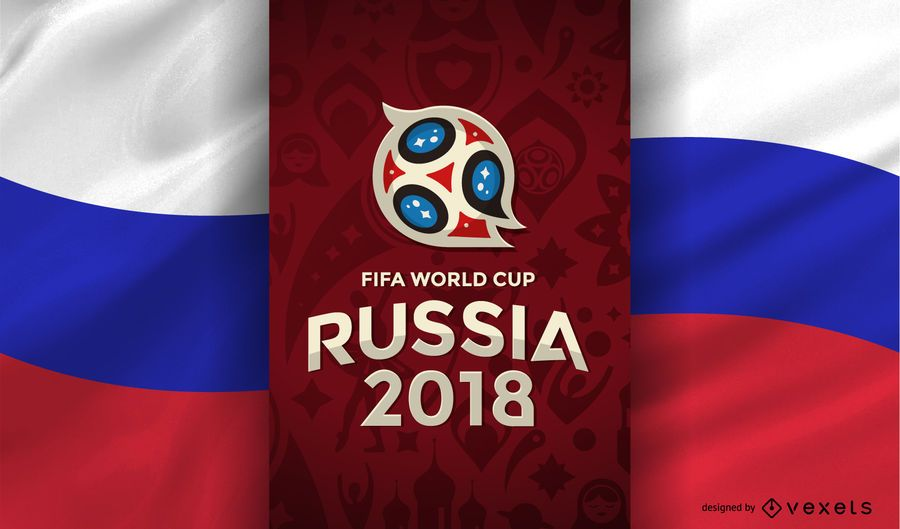 Russia 2018 World Cup with flag
