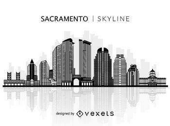 Silhouette of Sacramento skyline