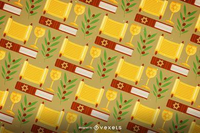 Patrón festivo plano de Hanukkah