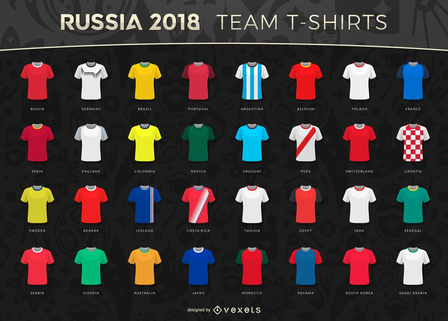 Russia 2018 World Cup team t-shirts