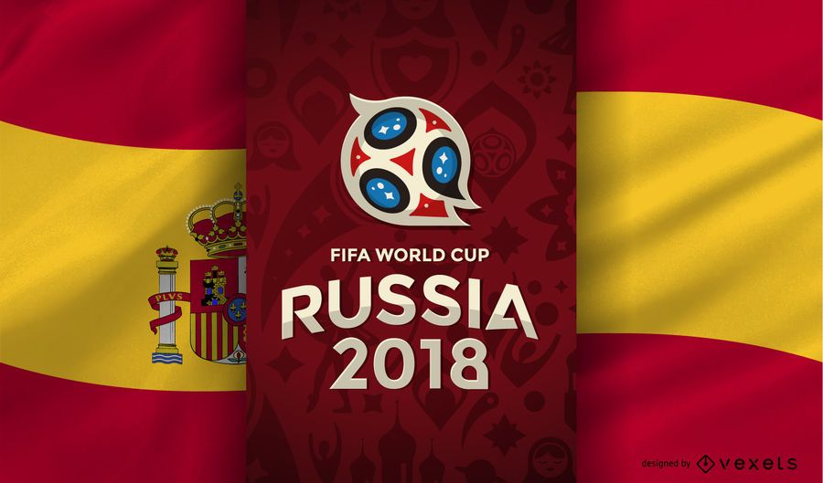 Russia 2018 World Cup with Spain flag