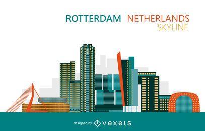 Skyline colorida de Rotterdam Holanda