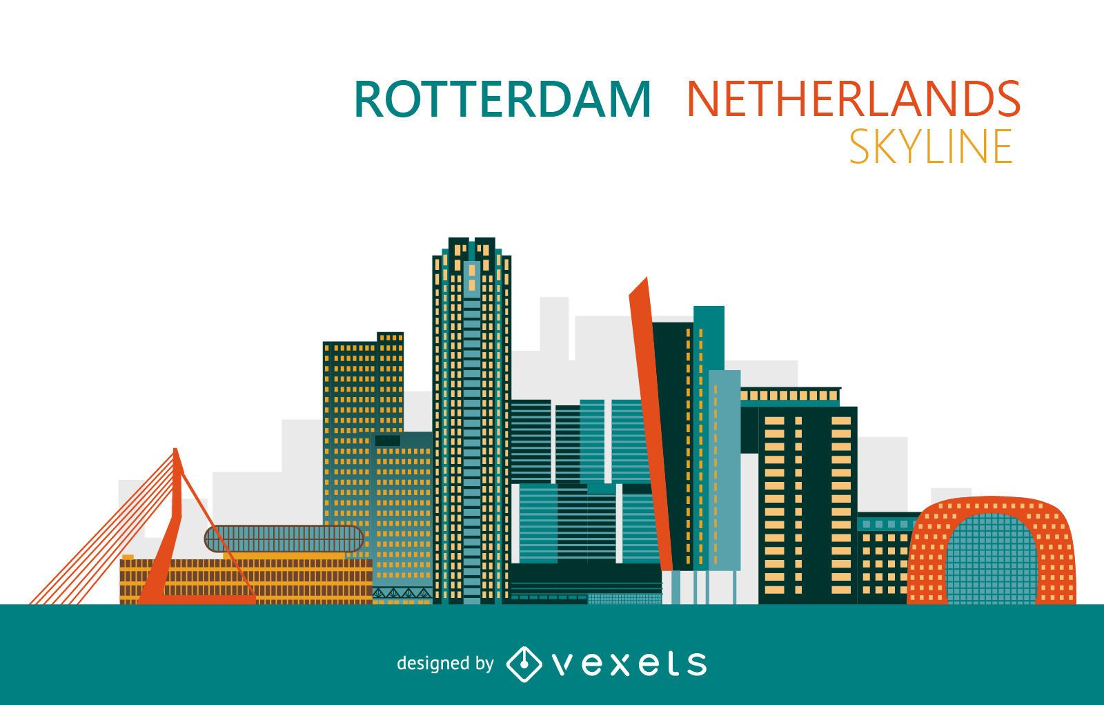 Colorful Rotterdam Netherlands skyline