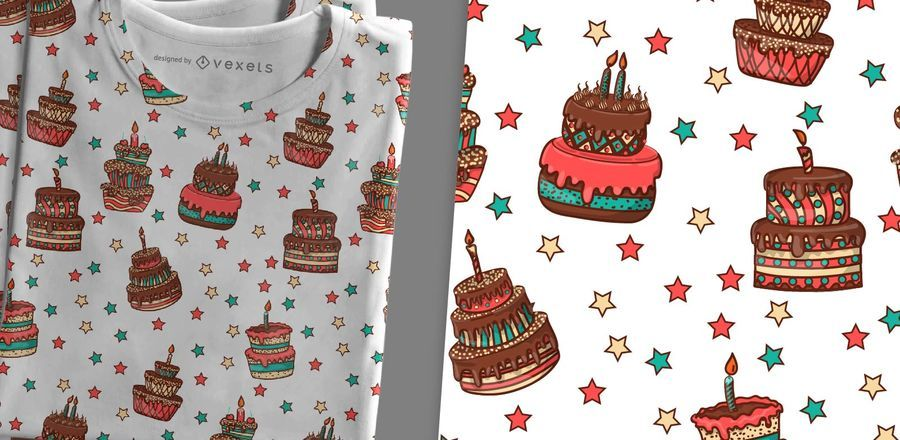 Hand-drawn cakes pattern