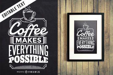 Sinal de letras de café editável