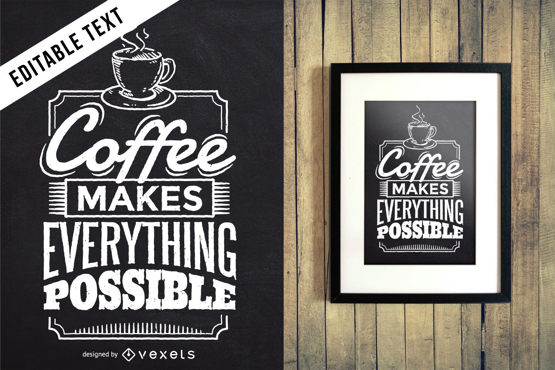 Sinal de letras editáveis de café