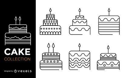 Conjunto de ícones de bolo de traçado