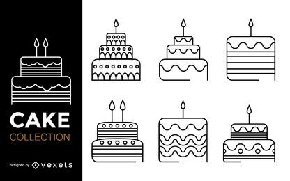 Stroke cake icon set