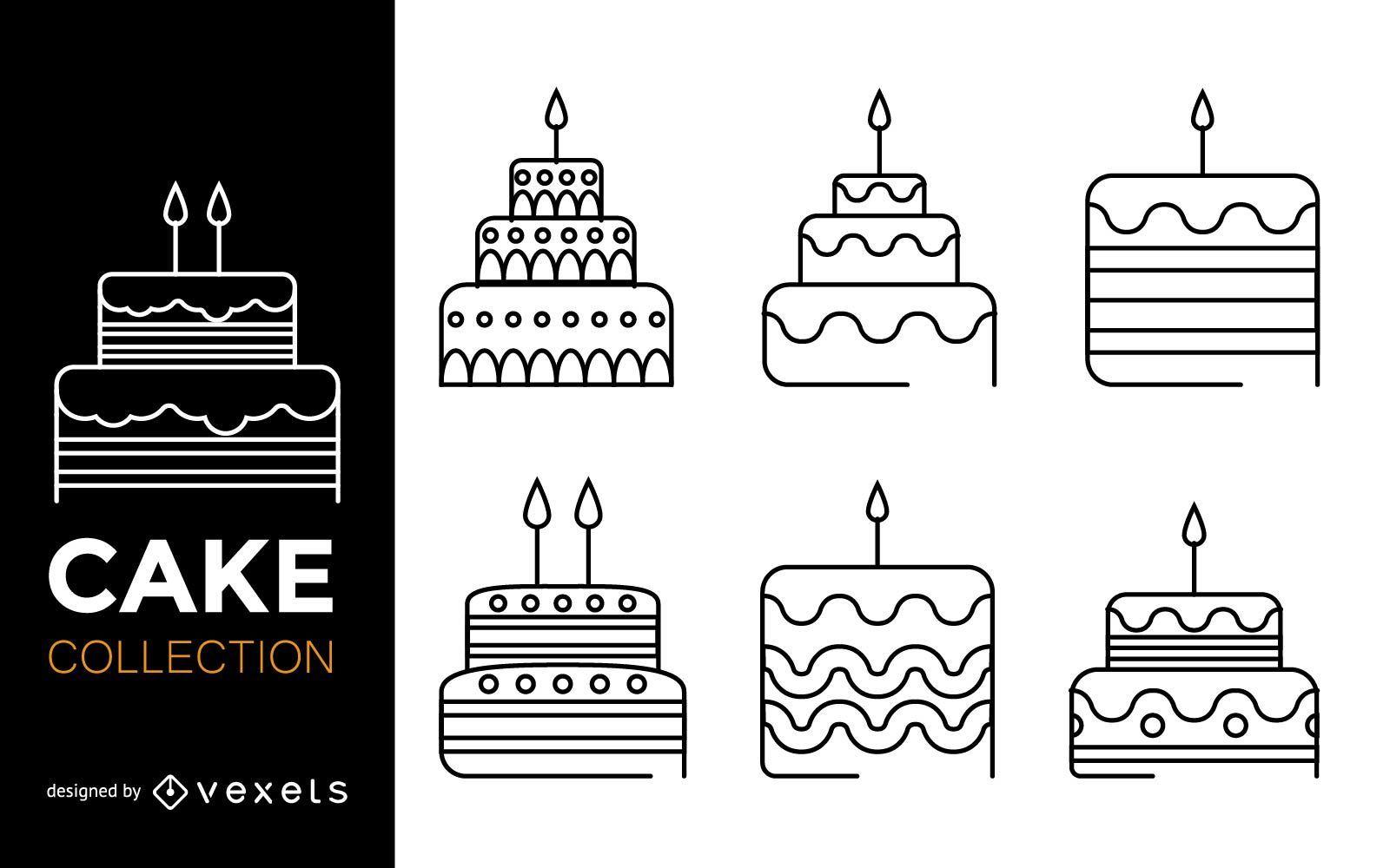 Stroke cake icon set