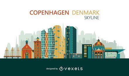 Skyline de Copenhaga colorida