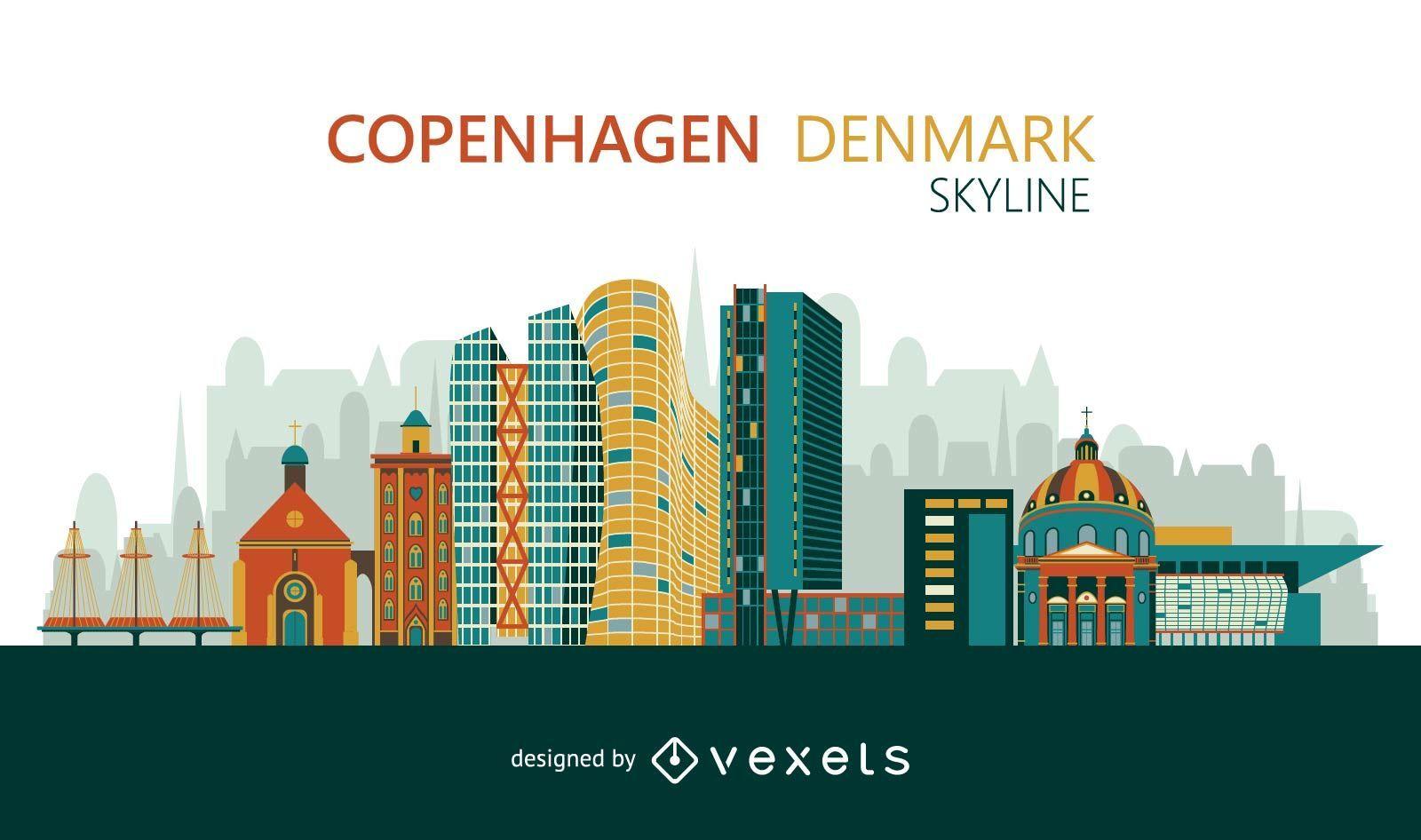 Colorful Copenhagen skyline