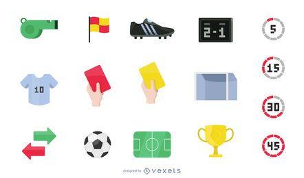 Colección de iconos de fútbol plano