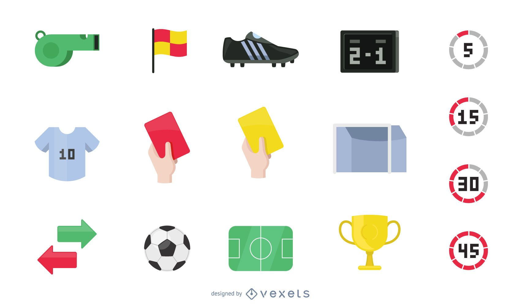 Flat football icon collection