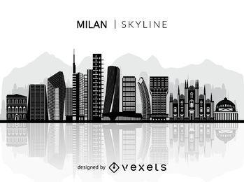Silhueta do horizonte de Milão