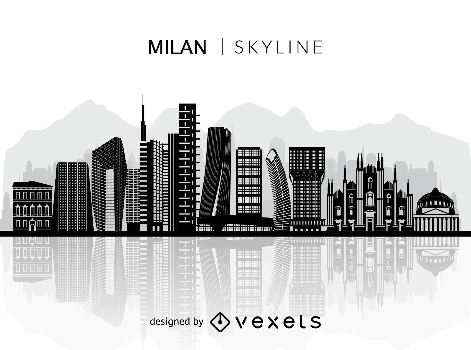 Silhouette of Milan skyline
