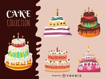 Colección de pastel grande ilustrada