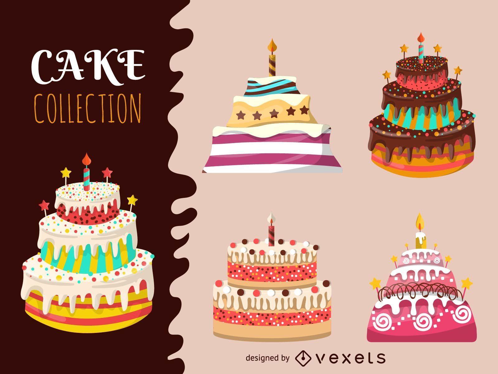 Colección ilustrada de tartas grandes