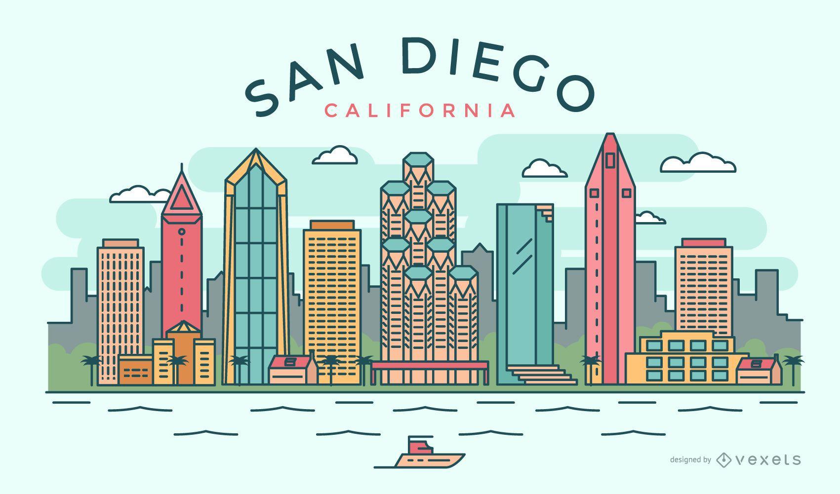 Stroke San Diego skyline