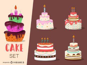 Conjunto de 4 ilustraciones de pastel.