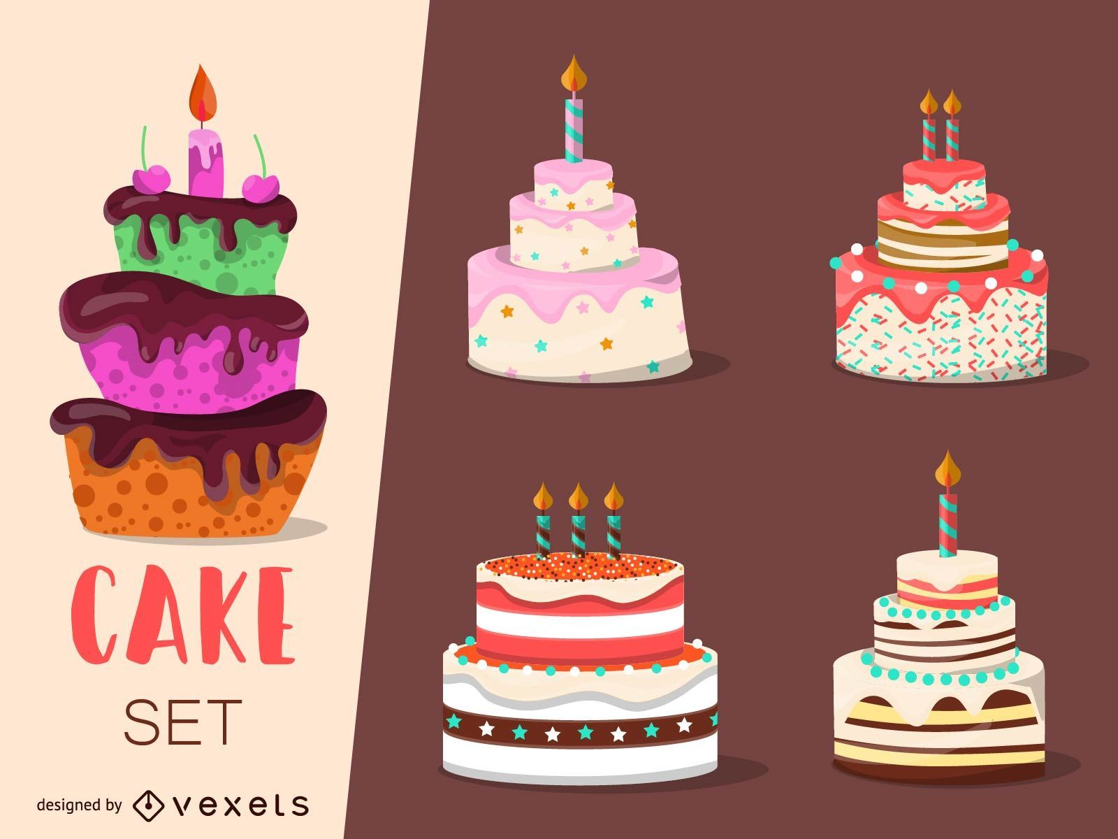 Conjunto de 4 ilustraciones de pastel
