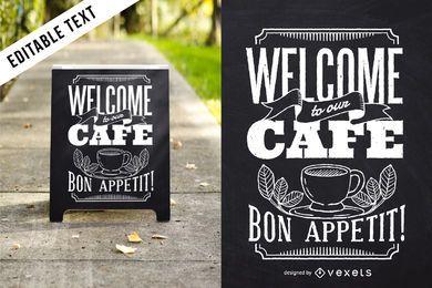 Design de café em letras Bon Appetit