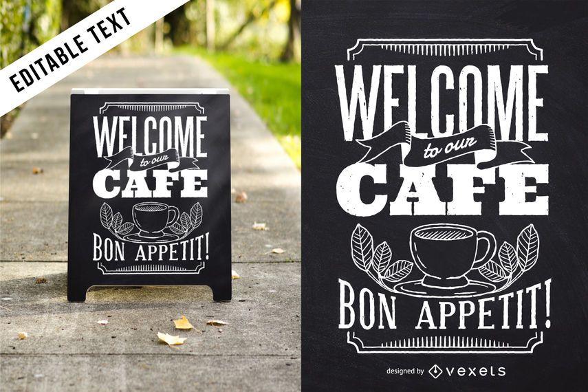 Bon Appetit letras diseño café