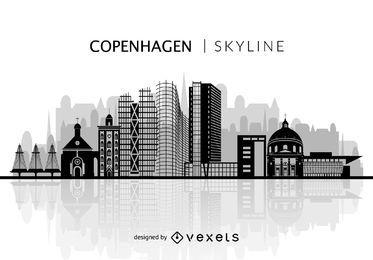 Silhueta do horizonte de Copenhaga
