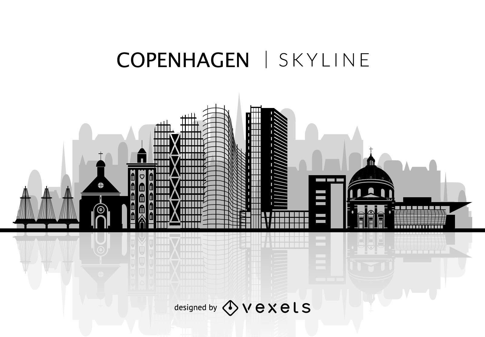 Silhouette of Copenhagen skyline - Vector download