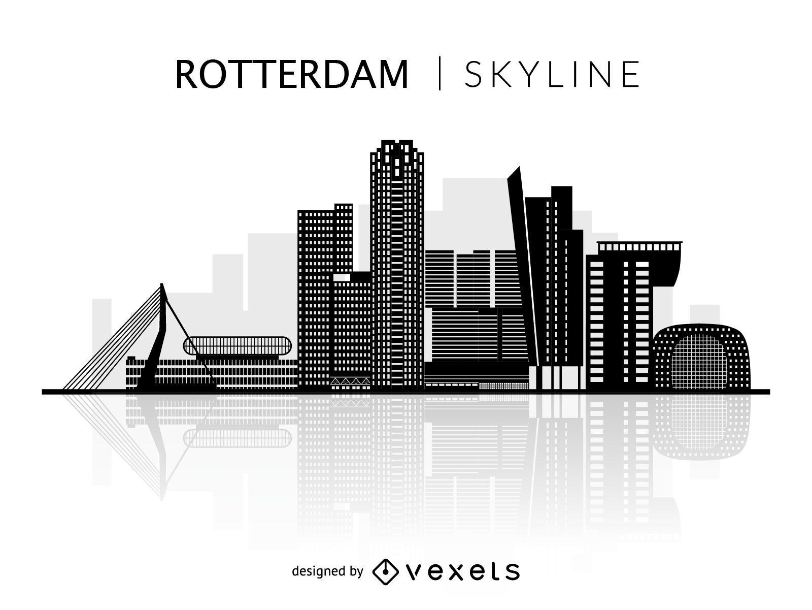 Silhueta do horizonte de Rotterdam