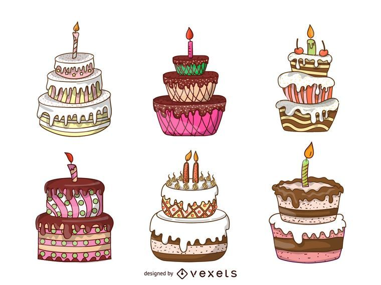 Isolated cake illustration set