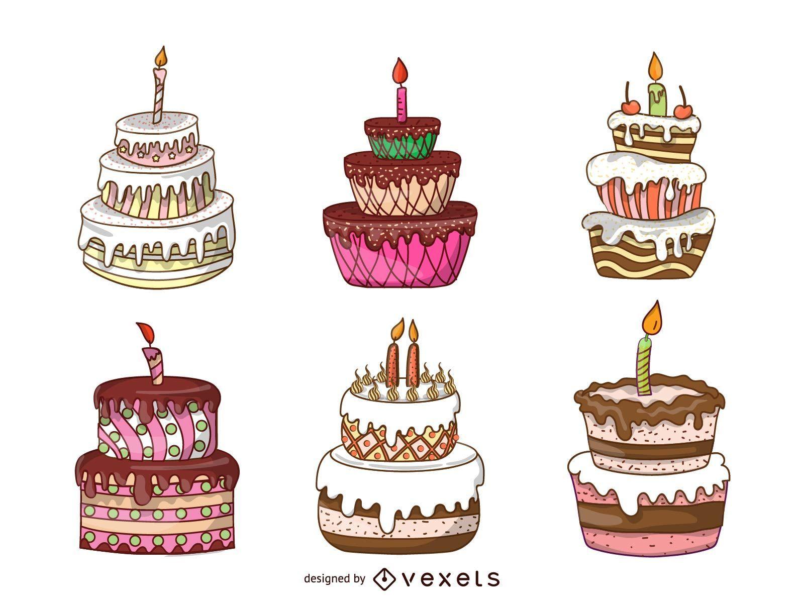 Isolated cake illustration set