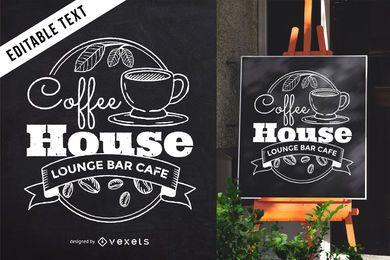 Cafe pizarra letras signo